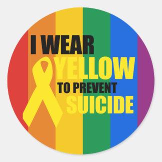Llevo amarillo para prevenir suicidio etiquetas
