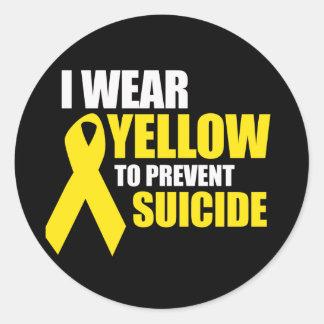 Llevo amarillo para prevenir suicidio - pegatinas redondas
