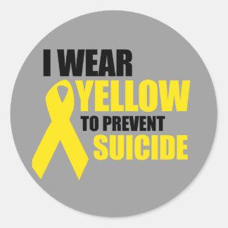Llevo amarillo para prevenir suicidio etiqueta