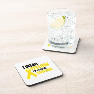 Llevo amarillo para prevenir suicidio posavasos de bebida