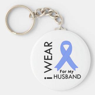 Llevo azul claro para mi marido - cáncer de prósta llaveros personalizados
