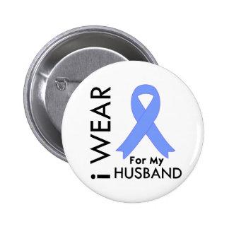 Llevo azul claro para mi marido - cáncer de prósta pin redondo de 2 pulgadas