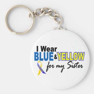 Llevo azul y amarillo para mi hermana Síndrome de  Llavero Personalizado