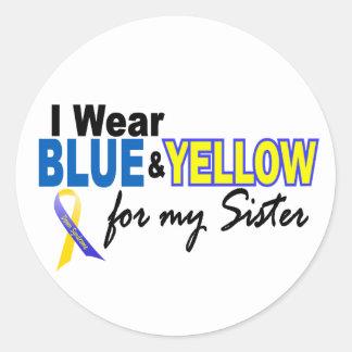 Llevo azul y amarillo para mi hermana Síndrome de Pegatina Redonda