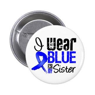 Llevo Blue Ribbon para mi hermana - cáncer de Pin Redondo De 2 Pulgadas