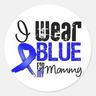 Llevo Blue Ribbon para mi mamá - cáncer de colon Pegatina Redonda