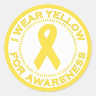 Llevo el amarillo para la conciencia pegatina redonda