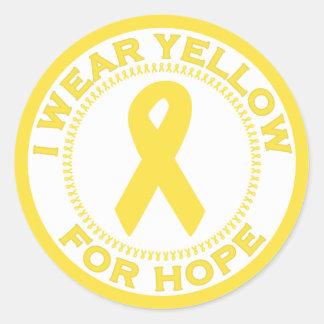 Llevo el amarillo para la esperanza pegatina redonda