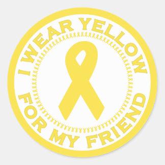 Llevo el amarillo para mi amigo pegatina redonda