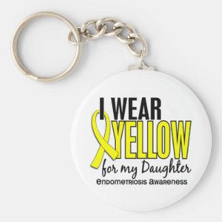 Llevo el amarillo para mi endometriosis de la hija llavero redondo tipo pin