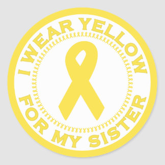 Llevo el amarillo para mi hermana pegatina redonda