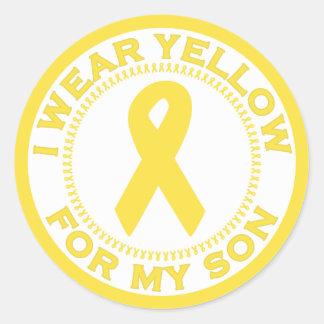 Llevo el amarillo para mi hijo pegatina redonda