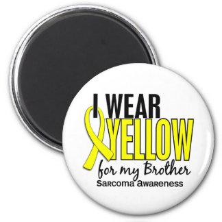 Llevo el amarillo para mi sarcoma de Brother 10 Imán Redondo 5 Cm
