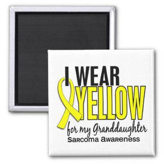 Llevo el amarillo para mi sarcoma de la nieta 10 imán cuadrado