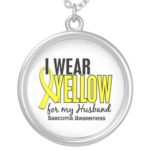 Llevo el amarillo para mi sarcoma del marido 10 colgante redondo