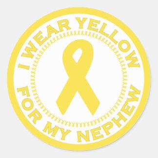 Llevo el amarillo para mi sobrino pegatina redonda