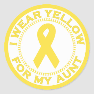 Llevo el amarillo para mi tía pegatina redonda