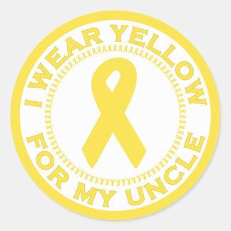 Llevo el amarillo para mi tío pegatina redonda