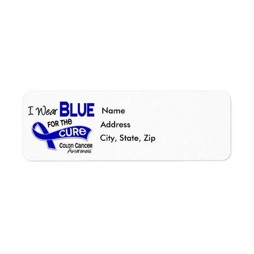 Llevo el azul para el cáncer de colon de la curaci etiqueta de remitente