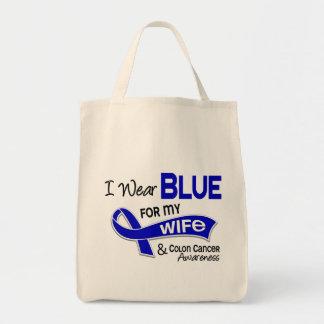 Llevo el azul para mi cáncer de colon de la esposa bolsa tela para la compra