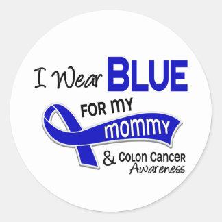 Llevo el azul para mi cáncer de colon de la mamá pegatina redonda