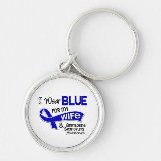 Llevo el azul para mi esposa 42 Spondylitis Llavero Redondo Plateado