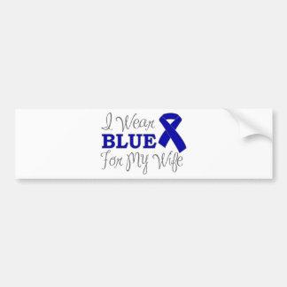 Llevo el azul para mi esposa (Blue Ribbon) Pegatina De Parachoque