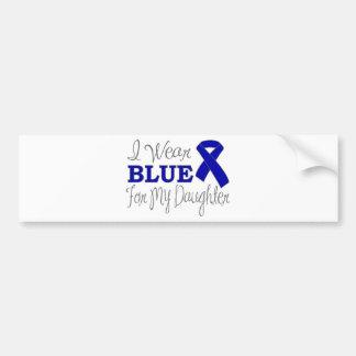 Llevo el azul para mi hija (Blue Ribbon) Pegatina De Parachoque