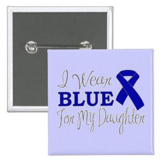 Llevo el azul para mi hija (Blue Ribbon) Pin Cuadrado