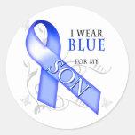 Llevo el azul para mi hijo etiqueta redonda