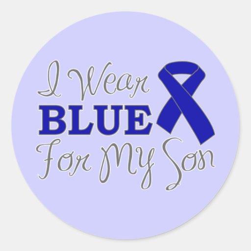 Llevo el azul para mi hijo (la cinta azul de la pegatina redonda
