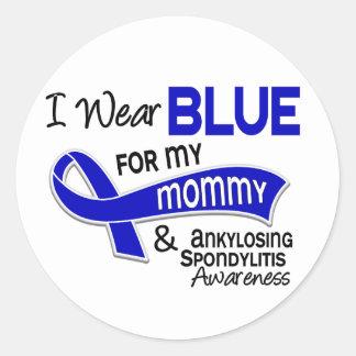 Llevo el azul para mi mamá 42 Spondylitis Pegatina Redonda