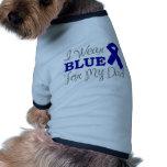 Llevo el azul para mi papá (la cinta azul de la co camisa de mascota