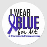 Llevo el azul yo RA de la artritis reumatoide Pegatina Redonda