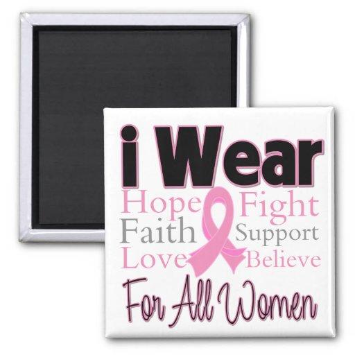 Llevo el collage rosado todo el cáncer de pecho de imán cuadrado