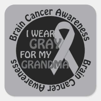 Llevo el gris para mi cáncer de cerebro de la pegatina cuadrada