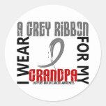 Llevo el gris para mi cáncer de cerebro del abuelo pegatina redonda