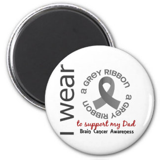 Llevo el gris para mi cáncer de cerebro del papá imán redondo 5 cm