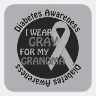 Llevo el gris para mi diabetes Awar de la ayuda de Pegatina Cuadrada