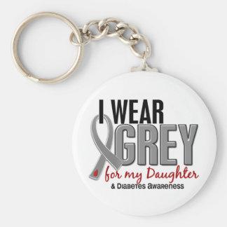Llevo el gris para mi diabetes de la hija 10 llaveros personalizados