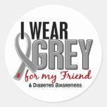 Llevo el gris para mi diabetes del amigo 10 pegatina redonda