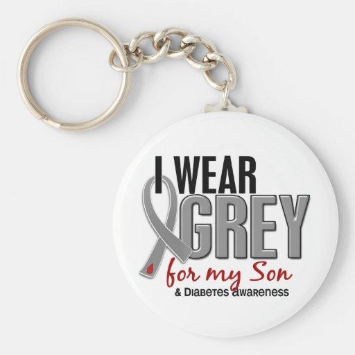 Llevo el gris para mi diabetes del hijo 10 llavero personalizado