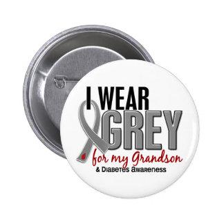 Llevo el gris para mi diabetes del nieto 10 pin redondo de 2 pulgadas