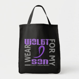 Llevo el linfoma de Hodgkin violeta del hijo 46 Bolsa Tela Para La Compra