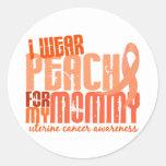 Llevo el melocotón para mi cáncer uterino de la etiqueta redonda