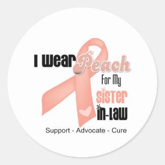 Llevo el melocotón para mi cuñada - cáncer uterino etiquetas redondas