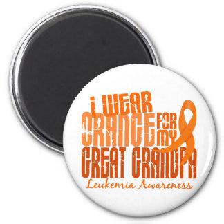 Llevo el naranja para mi gran leucemia del abuelo  imán redondo 5 cm