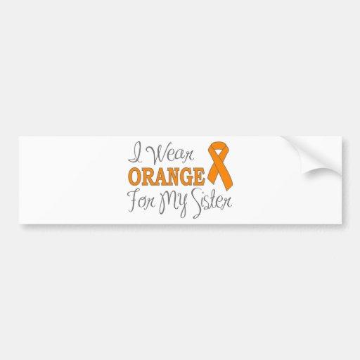 Llevo el naranja para mi hermana (la cinta anaranj etiqueta de parachoque