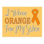 Llevo el naranja para mi hermana (la cinta anaranj tarjetas postales