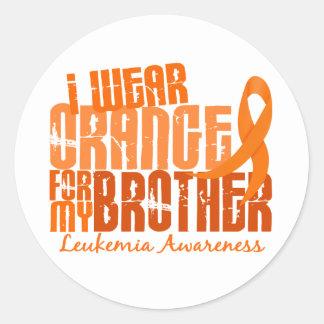 Llevo el naranja para mi leucemia de Brother 6,4 Pegatina Redonda